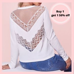 Lace Back White Tee Blouse